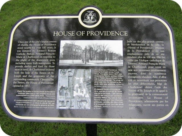 The first plaque for the House of Providence at Queen and Power. Photo by Alan L. Brown of torontoplaques.com