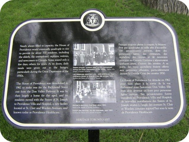 The second House of Providence plaque. Photo by Alan L. Brown of torontoplaques.com.