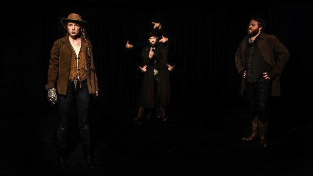 Left to right, Kaitlin Morrow, Seann Murray, and Conor Bradbury in Watch Out, Wildcat! Photo by John Gundy.