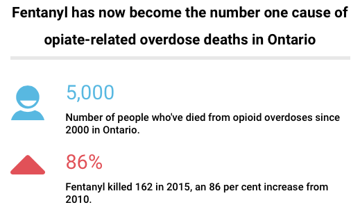 Over 5,000 people died from opioid overdoses since 2000 in Ontario. Fentanyl has now become the number one cause of opiate-related overdose death in Ontario—which killed 162 in 2015, an increase of 86 in 2010.