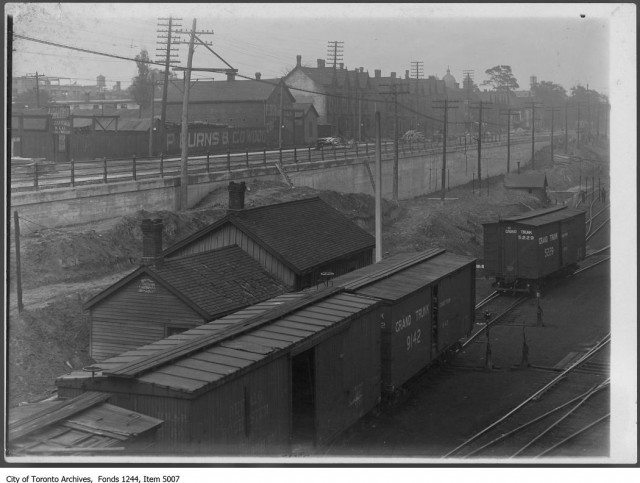 The Grade Trunk Railway yard at Bathurst and Front, looking towards the foot of Draper Street, circa 1908. Photo from the City of Toronto Archives Fonds 1244, Item 5007.