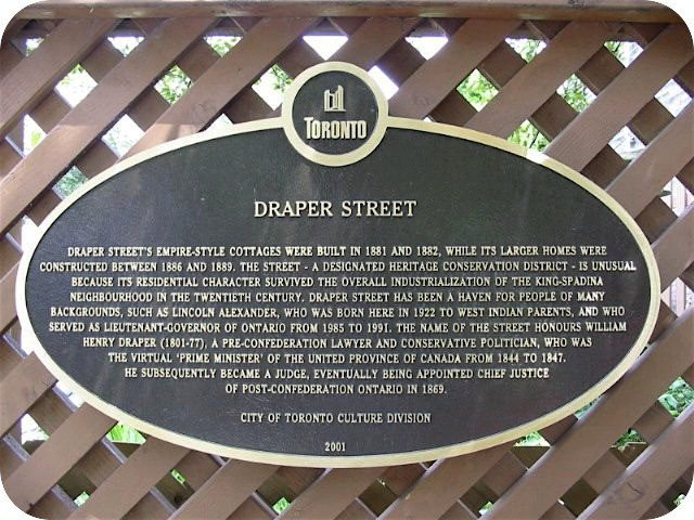 Draper Street plaque. Photo by Alan L. Brown of torontoplaques.com.