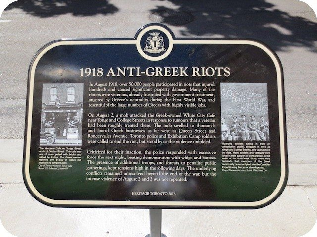 The Heritage Toronto plaque about the anti-Greek Riots. Photo by Alan. L. Brown of torontoplaques.com