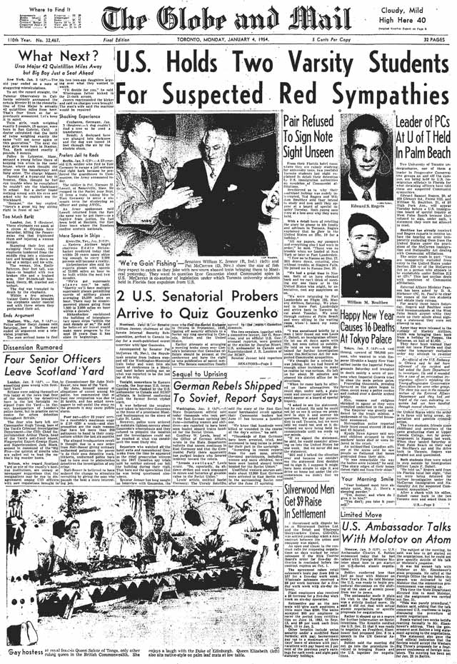 Front page, Globe and Mail, January 4, 1954.