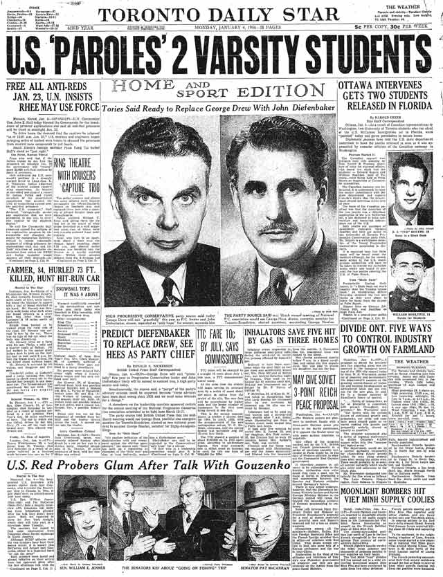 Front page, the Star, January 4, 1954.