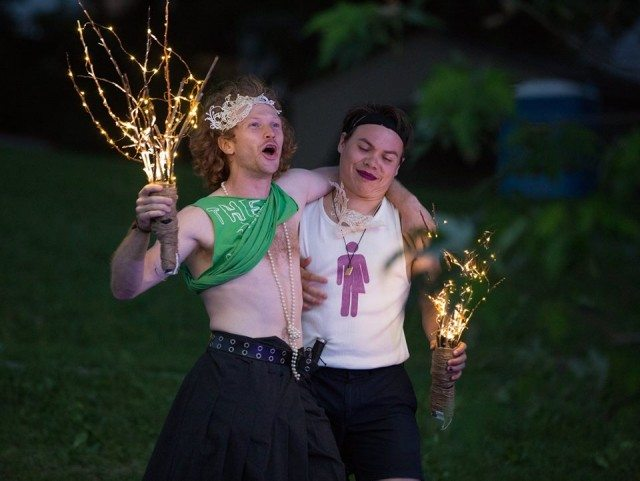 Brendan McMurtry-Howlett (left) as Mercutio, and Wayne Burns as Benvolio, in Shakespeare in the Ruff's 2016 production of . Photo by Cylla von Tiedemann.