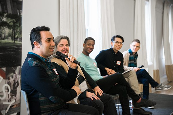 The panelists at the No More S#%&! event March 12. From left to right: Arsham Parsi, Alec Butler, March-Ché Devonish, moderator A.W. Lee, and Dr. Tom Hooper. Photo by Justin Morris and used courtesy of Myseum of Toronto.