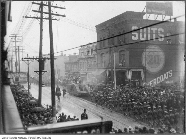 A military parade on Yonge Street c. 1919. From the City of Toronto Archives Fonds 1244, Item 720.