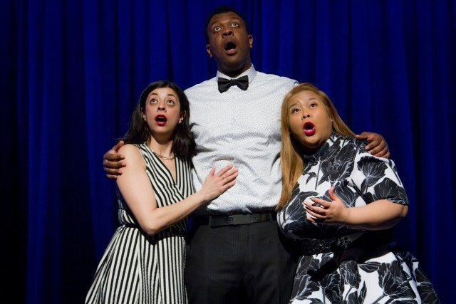 Left to Right, Paloma Nunez, Brandon Hackett, and Ann Pornel speak (but don't sing) out in Everything In Great Again. Photo by Paul Aihoshi.