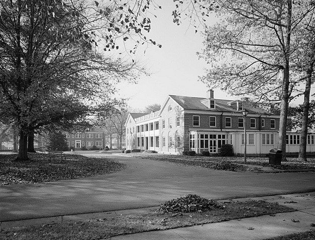 Administration building at the Federal Reformatory for Women, Alderson, West Virginia. From the Library of Congress Prints and Photographs Division (HABS WVA,45-ALD.V,1-A--1)