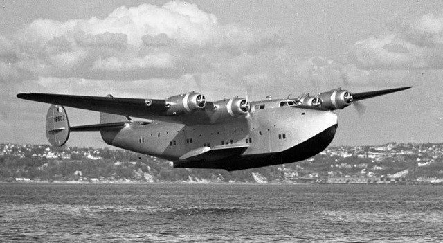 Detail of a Boeing 314 Clipper in flight, ca. 1941. From the Library of Congress via WikiMedia Commons.