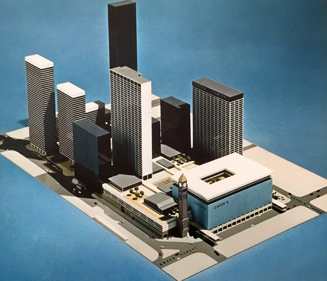 1960s design proposal for the Eaton Centre, where Old City Hall was reduced to its clock tower. The Eaton Centre: a project dedicated to the revitalization of downtown Toronto. (Toronto: c.1966).