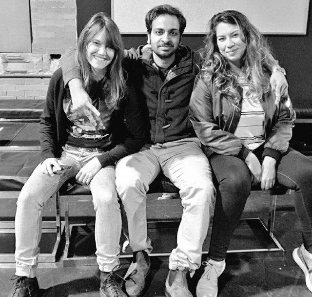 Some of tonight's Wrecking Ball organizers, left to right:Claire Burns, Owais Lightwala, and Renna Reddie. Photo by Rong Fu.