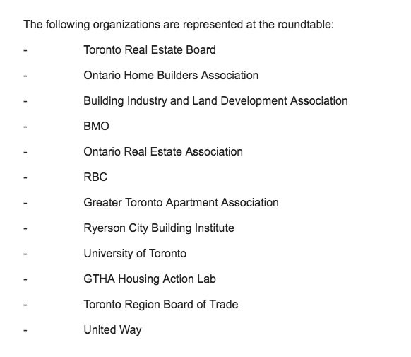 The organizations represented at the mayor's housing roundtable. Screenshot from email.