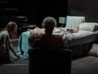 Left to Right, WillIam Ellis, Tabby Johnson, and Alice Snaden (on bed) in a scene from S H E E T S. Photo by Dahlia Katz.