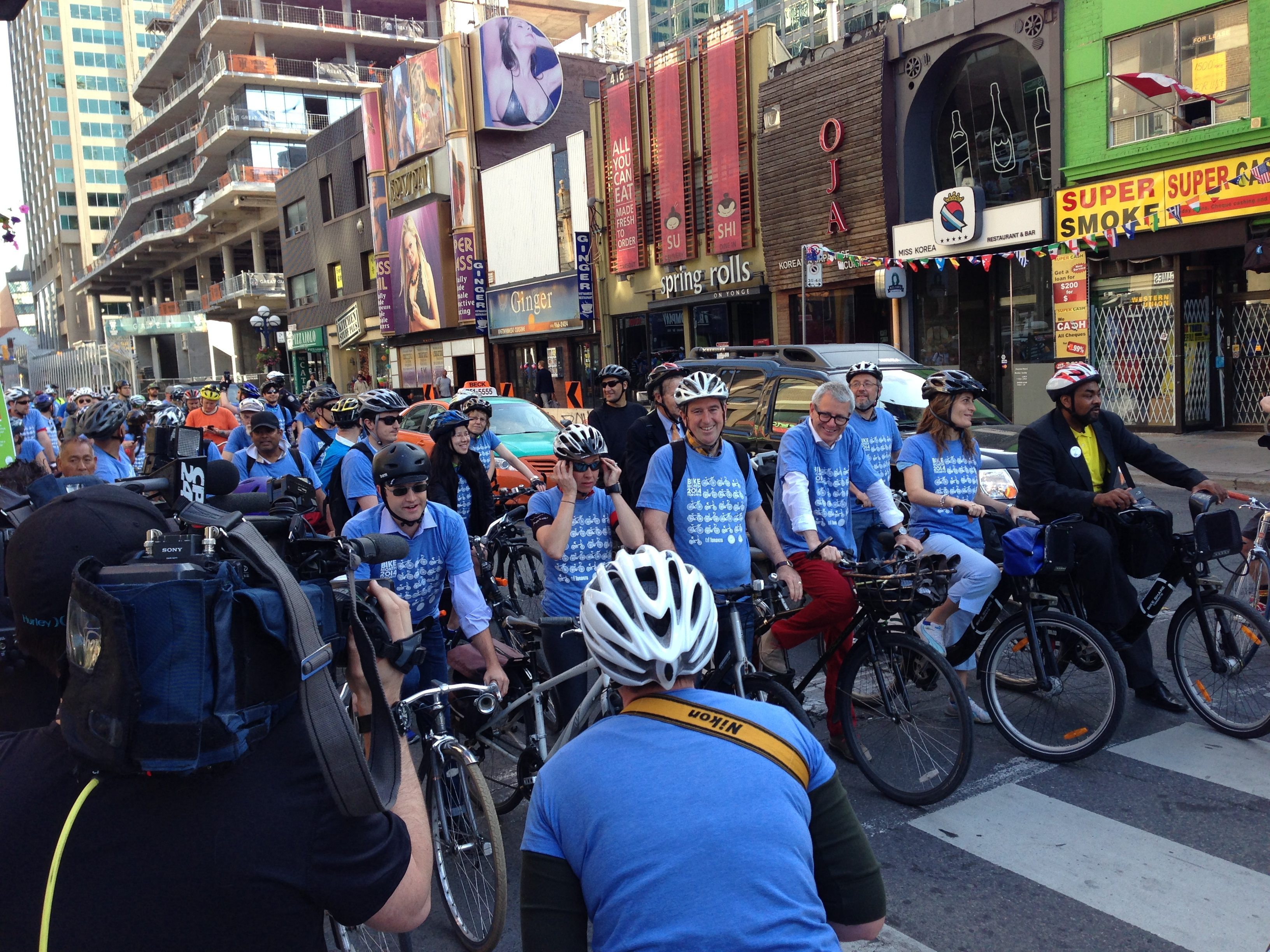 Bike to Work Day in 2014. Photo by Russell Sutherland in the Torontoist Flickr Pool.