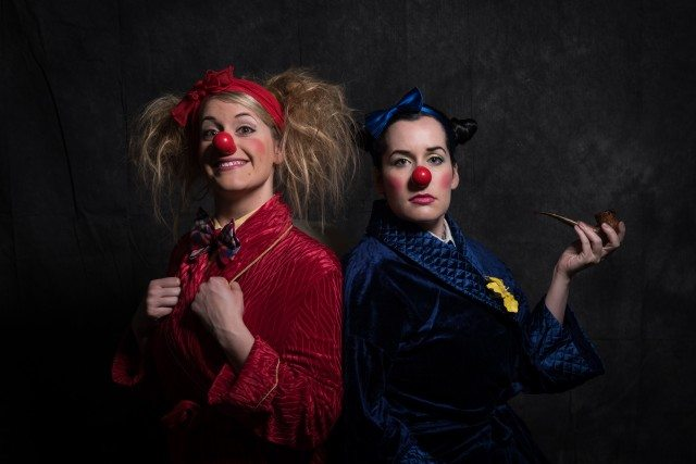 Clown sisters Morro and Jasp host the Toronto Fringe Festival launch party and the Festival of Clowns preview cabaret tonight. Photo by Alex Nirta.