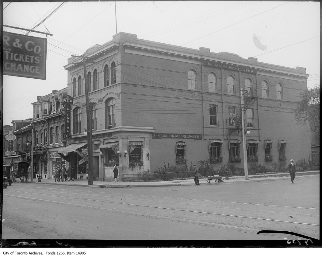 The Canadian Bank of Commerce location at Queen and University on September 18, 1928. Photo from the City of Toronto Archives Globe and Mail fonds, Fonds 1266, Item 14905.