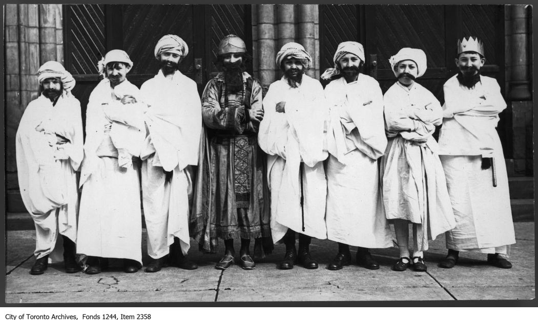 Boys dressed up for a Purim play at Holy Blossom circa 1920. Photo from the City of Toronto Archives Fonds 1244, Item 2358.