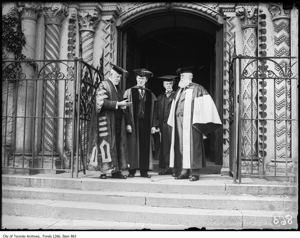 Convocation at the University of Toronto with Edmund Walker (right) on June 8, 1923. Photo from the City of Toronto Archives Globe and Mail fonds, Fonds 1266, Item 863.