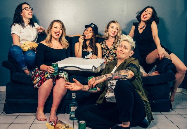 The 2017 Mirthful Mx. In The 6ix, from left to right: Nicola Dempsey, Rosie Dempsey, Isabel Kanaan, Tess Degenstein, Nadine Djoury, and in front, Chantel Marostica.