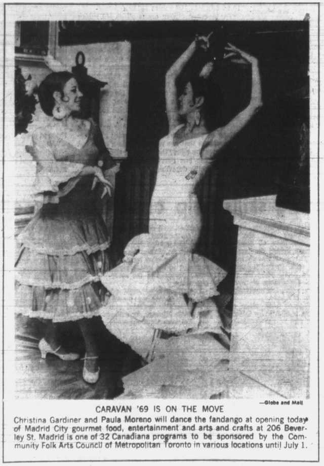 Christina Gardiner and Paula Moreno, at the Madrid pavilion.  Globe and Mail, June 26, 1969.