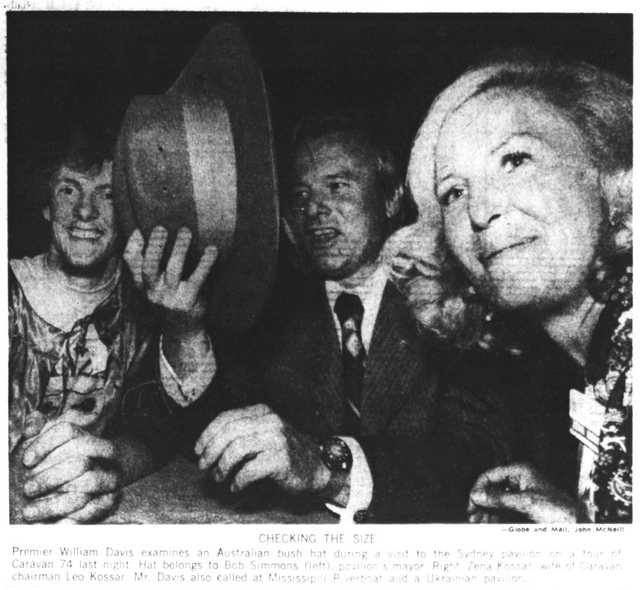 "Zena Kossar at the Sydney pavilion in 1974, with Sydney ""mayor"" Bob Simmons and Ontario Premier Bill Davis.  Globe and Mail, June 26, 1974."