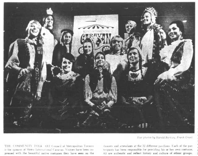 Volunteers at the first Metro International Caravan.  Toronto Star, June 30, 1969.