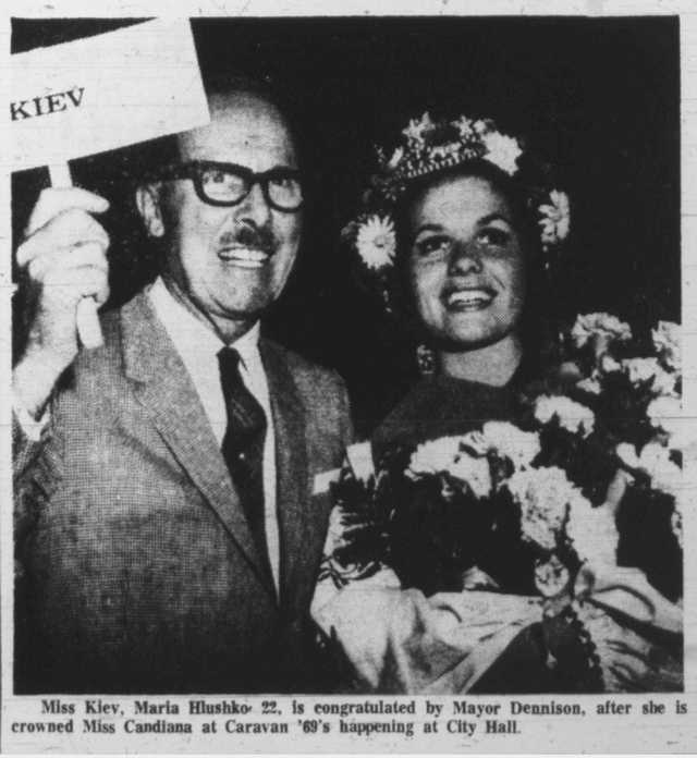 Toronto mayor William Dennison with Miss Kiev Maria Hlushko.  Toronto Telegram, July 2, 1969.