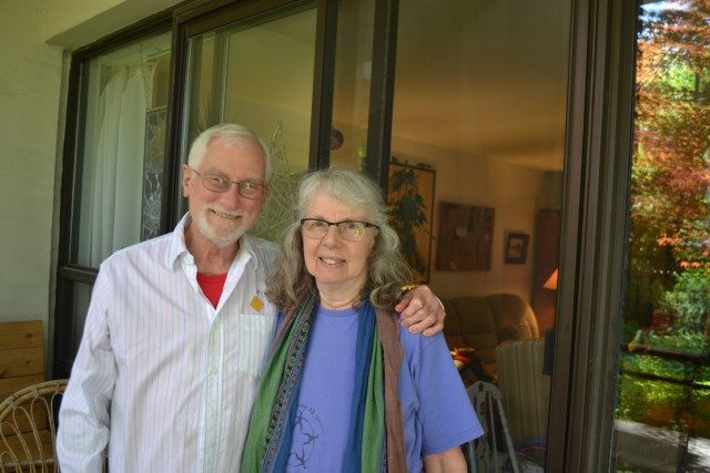 Doug Buck and Kate Chung outside their apartment. Photo by Tannara Yelland