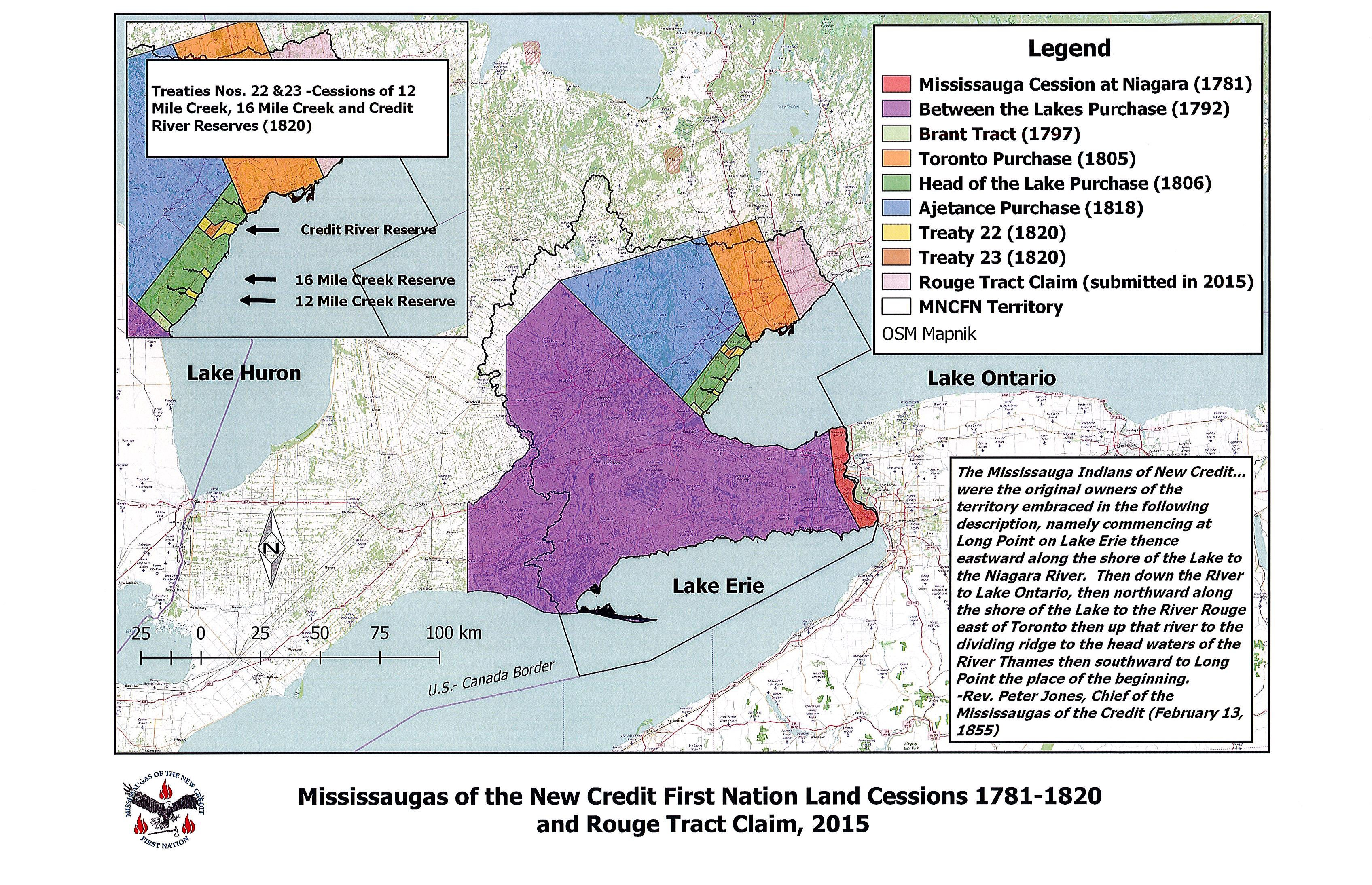 A map of the land cessions of the Missisaugas of the New Credit First Nation.