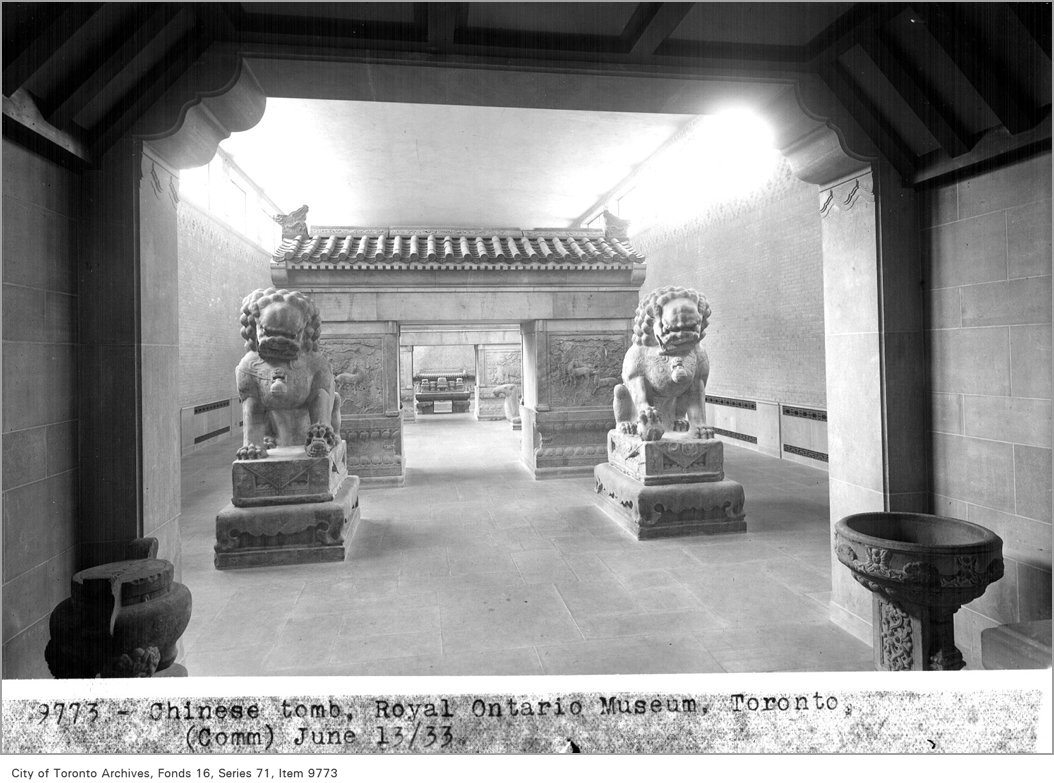 A Chinese tomb flanked by two lions (now at the Avenue Road entrance) in the ROM in 1933. Photo by Alfred Pearson in the City of Toronto Archives Fonds 16, Series 71, Item 9773.