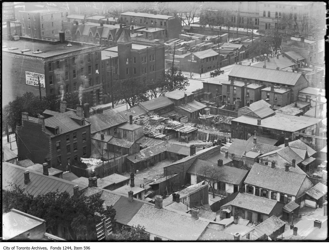 The Ward as seen from the top of the Eaton factory in 1910. Osgoode Hall, where Grace Bagnato later worked, is seen in the top right. Photo from the City of Toronto Archives Fonds 1244, Item 596.