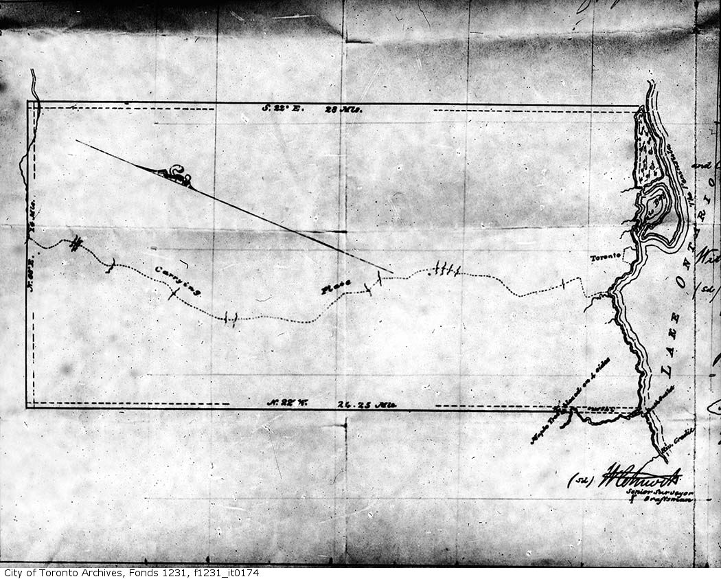 A map of the Toronto Purchase area c.1860. Photo from the City of Toronto Archives Fonds 1231, Item 174.