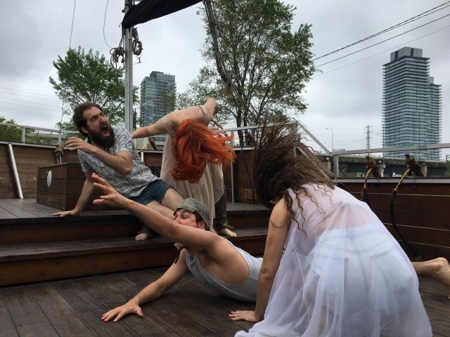 The cast of Flooded set sail for six on the water performances this week. Photo by Ara Glenn-Johanson.