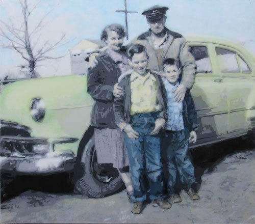 Family with 1952 Pontiac Chieftain, by Micheal Compeau, one of the artists at this weekend's Outdoor Art Exhibition. Image courtesy of the artist.