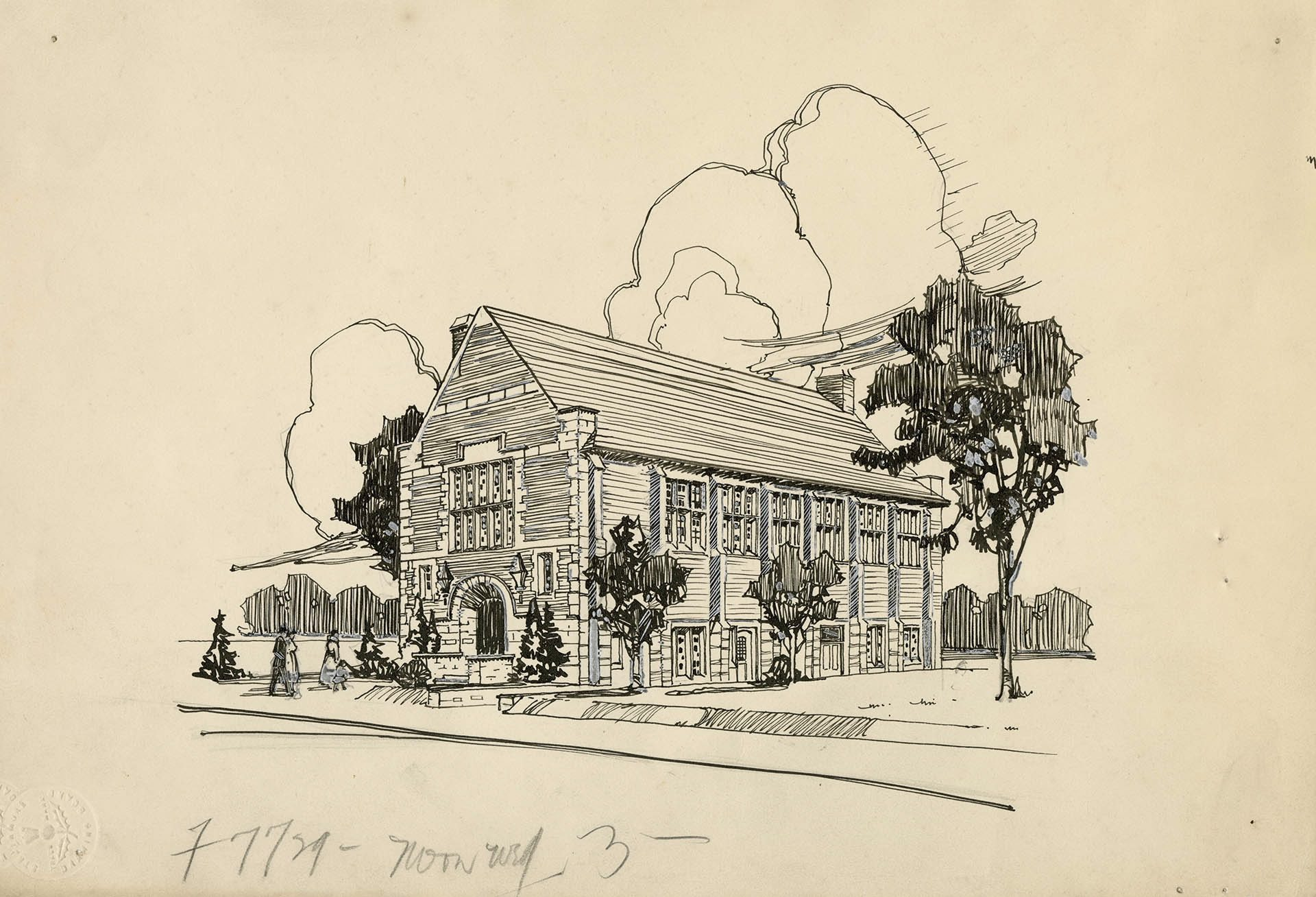 A sketch for the Wychwood branch of the Toronto Public Library, designed by Eden Smith. Photo via Wikimedia Commons.