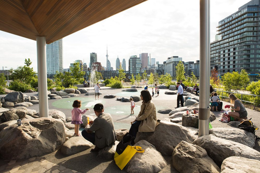 The largest park in the Downtown is Corktown Common at 18 acres. Photo: Waterfront Toronto