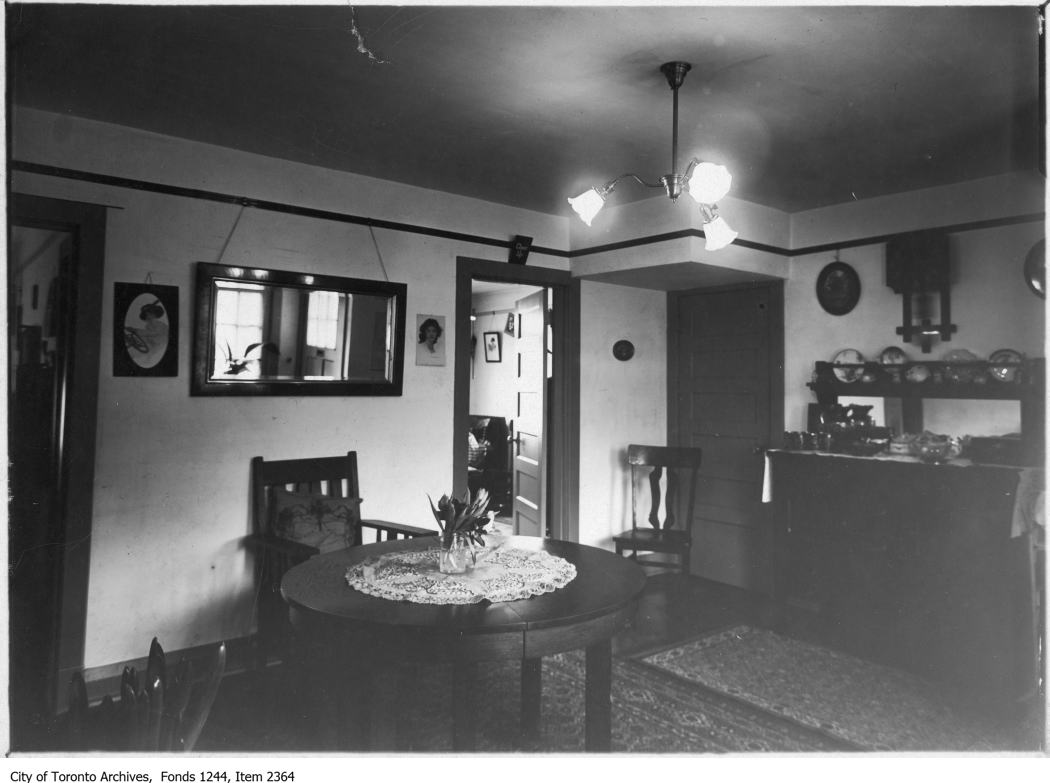 Dining room, Spruce Court, c.1913-15. Photo from the City of Toronto Archives, Fonds 1244, Item 2364.
