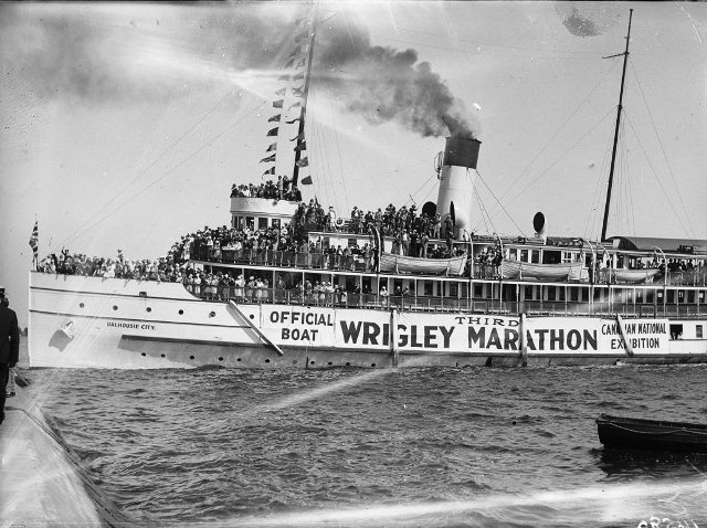 The 'Dalhousie City,' official boat of the 1928 Toronto swimming marathon.  City of Toronto Archives, Fonds 1266, Item 14580.