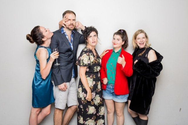 Left to right, Christy Bruce, Alistair Forbes, Lisa Amerongen, Nicole Passmore, and Leigh Cameron play members of a Bluth-like family at Bad Dog Theatre's Blockbuster Week. Photo by Connor Low.