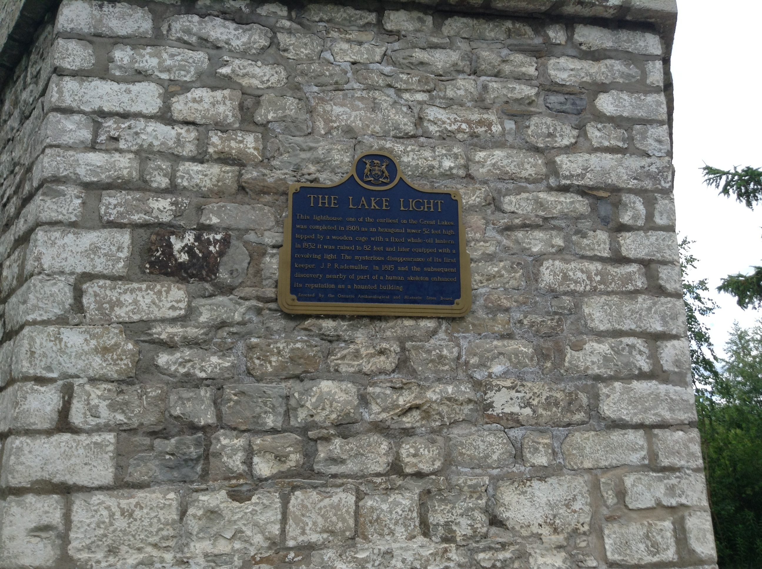 The historical plaque on the Gibraltar Point lighthouse. Photo by Erin Sylvester.