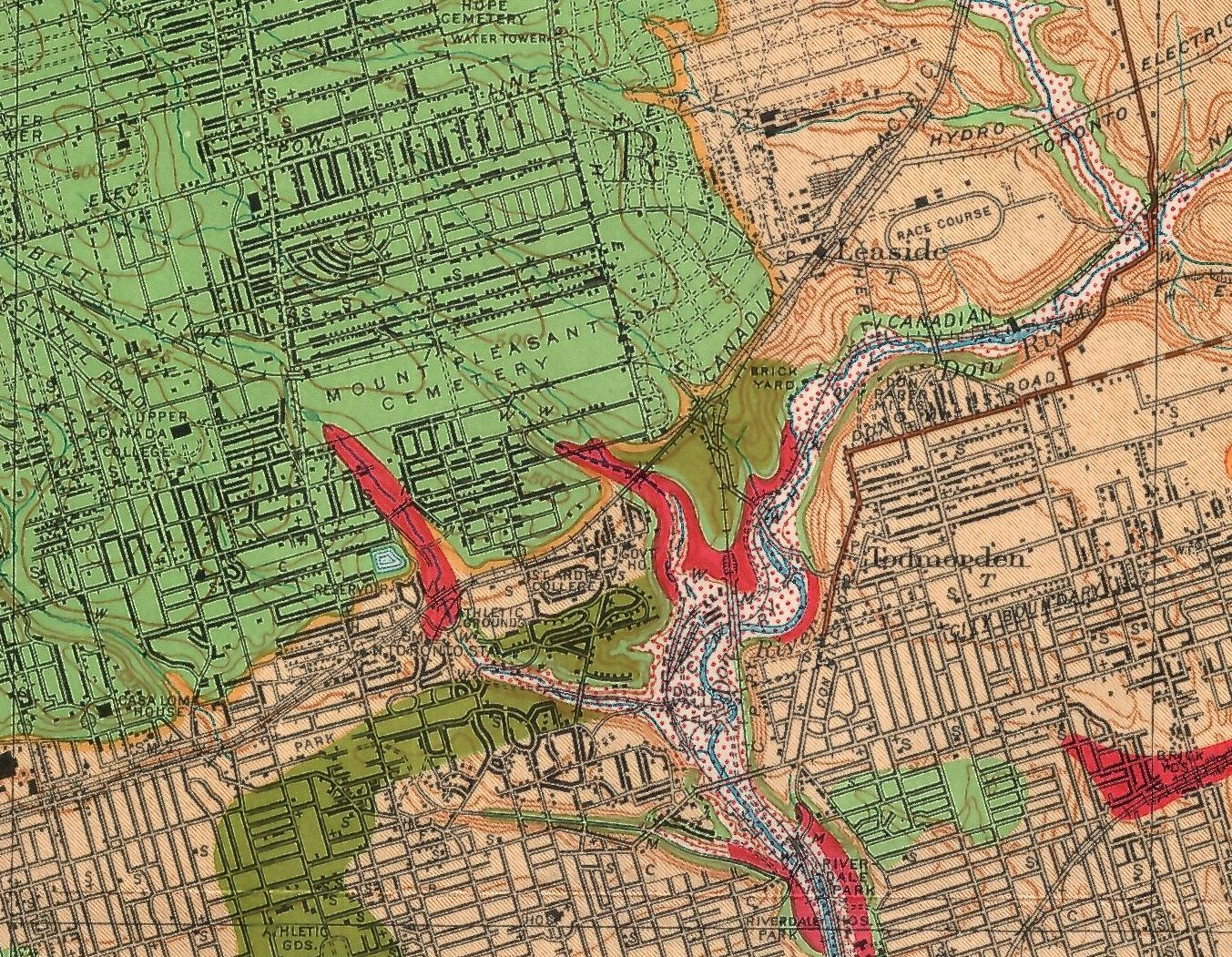 Detail from a 1932 Ontario Department of Mines Annual Report map (41G) by A.P. Coleman. Image courtesy of the University of Toronto map library.