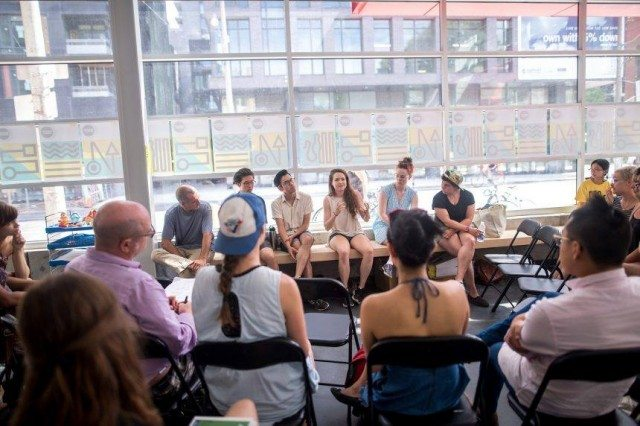 A workshop event at the 2016 Summerworks Festival. Photo by Dahlia Katz.