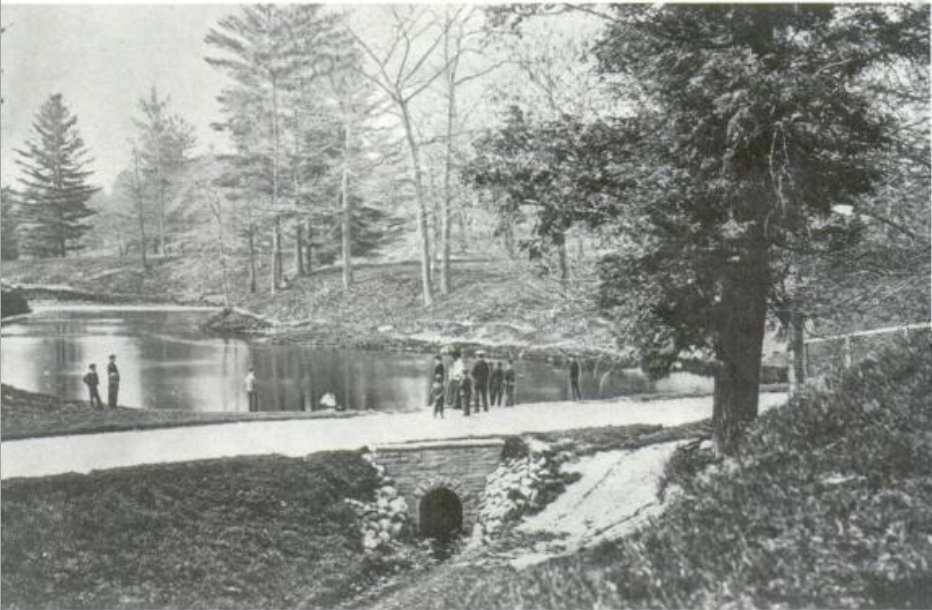 Taddle Creek dammed to make McCaul's Pond at UofT in 1869. Photo via Wikimedia Commons.