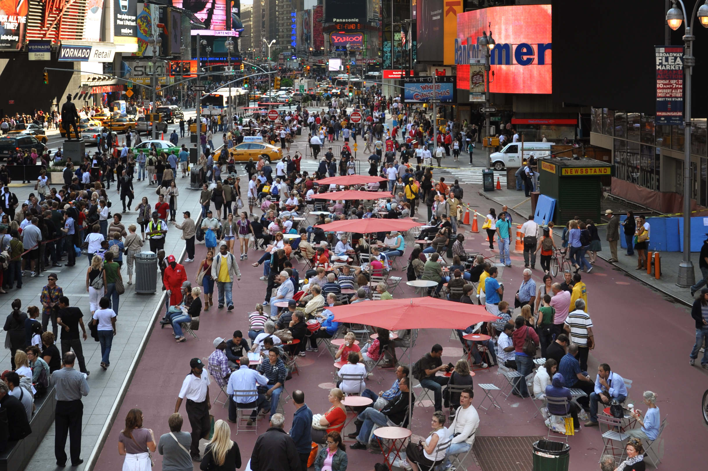 If New York can pedestrianize Times Square, Toronto can afford to be bolder in reclaiming sidewalk space. Photo by NYCDOT.