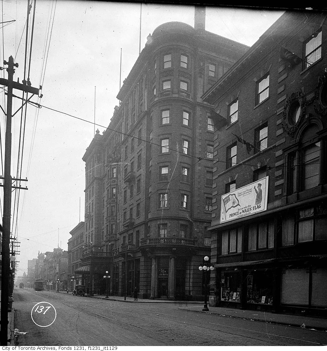 The King Edward Hotel in 1919. Photo from the City of Toronto Archives Fonds 1231, Item 1129.