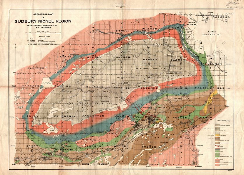 Geological map of the Sudbury Nickel Region to accompany a monograph by A.P. Coleman. Map dated 1912. Used courtesy of Victoria University Library (Toronto).