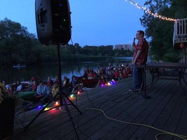 Tim Gilbert performing stand-up for the paddling audience of the first Comedy On The River trip. Photo by Dan Galea.